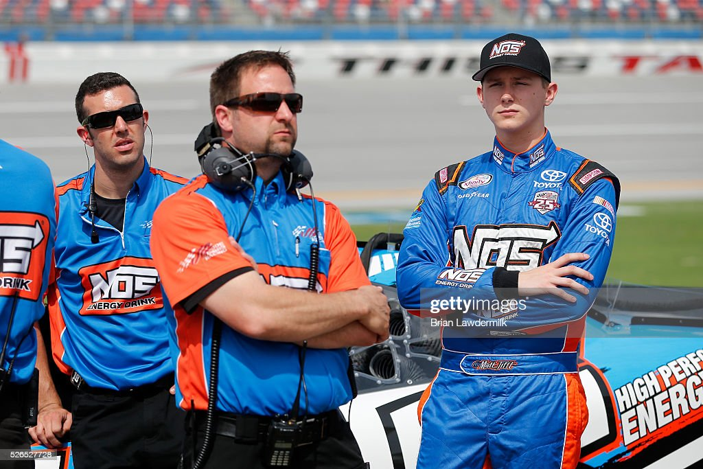 Matt Tifft, driver of the #18 NOS Energy Drink Toyota, stands on the grid during qualifying for the NASCAR XFINITY Series Sparks Energy 300 at Talladega Superspeedway on April 30, 2016 in Talladega, Alabama.