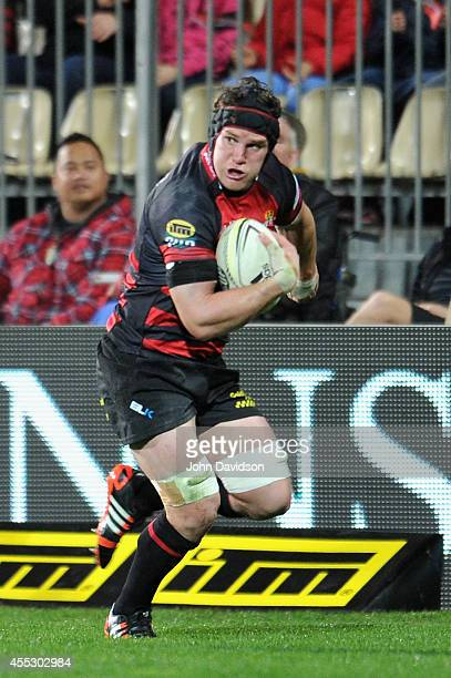 Matt Todd of Canterbury on the burst during the round five ITM Cup match between Canterbury and Wellington at AMI Stadium on September 12 2014 in...