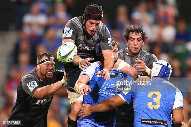 Matt Todd of the Crusaders crashes the lineout during the round seven Super Rugby match between the Force and the Crusaders at nib Stadium on April 8...