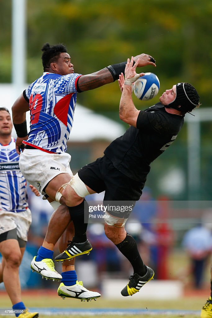 <a gi-track='captionPersonalityLinkClicked' href=/galleries/search?phrase=Matt+Todd&family=editorial&specificpeople=5870233 ng-click='$event.stopPropagation()'>Matt Todd</a> of the New Zealand All Blacks and Joe Tekori of Manu Samoa contest the ball during the International Test match between Samoa and the New Zealand All Blacks at Apia Stadium on July 8, 2015 in Apia, Samoa.