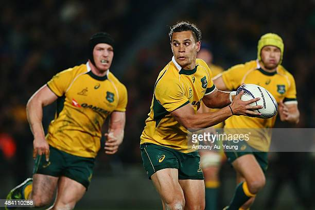 Matt Toomua of Australia in action during The Rugby Championship Bledisloe Cup match between the New Zealand All Blacks and the Australian Wallabies...