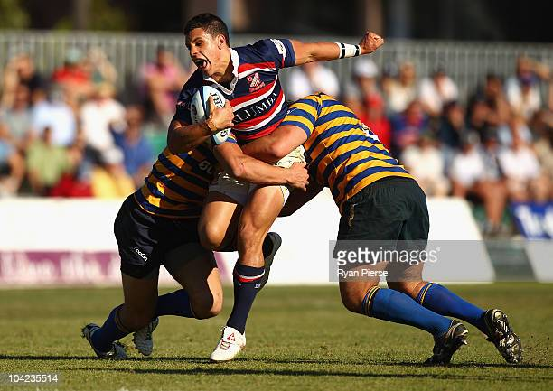 Matt To�omua of Easts is tackled during the Shute Shield Elimination Final match between Sydney University and Eastern Suburbs at Coogee Oval on...
