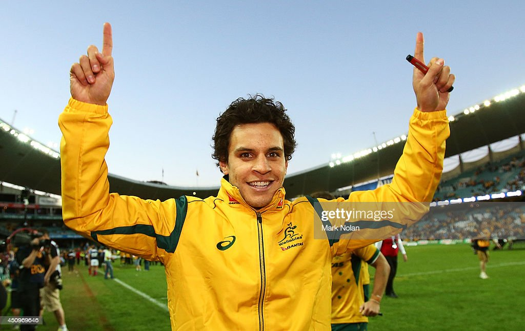 <a gi-track='captionPersonalityLinkClicked' href=/galleries/search?phrase=Matt+Toomua&family=editorial&specificpeople=4695215 ng-click='$event.stopPropagation()'>Matt Toomua</a> of the Wallabies celebrates after the International Test match between the Australia Wallabies and France at Allianz Stadium on June 21, 2014 in Sydney, Australia.