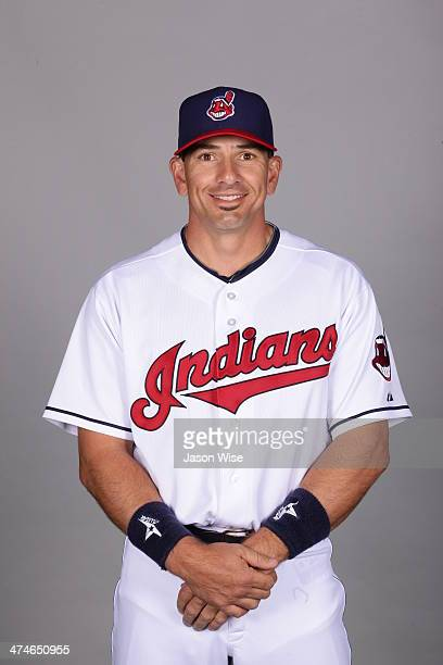 Matt Treanor of the Cleveland Indians poses during Photo Day on Monday February 24 2014 at Goodyear Ballpark in Goodyear Arizona