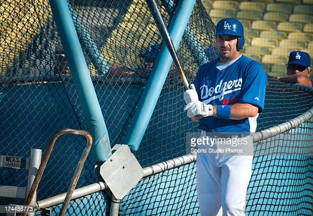 Matt Treanor of the Los Angeles Dodgers before a game against the Cincinnati Reds on July 2 2012 at Dodger Stadium in Los Angeles California