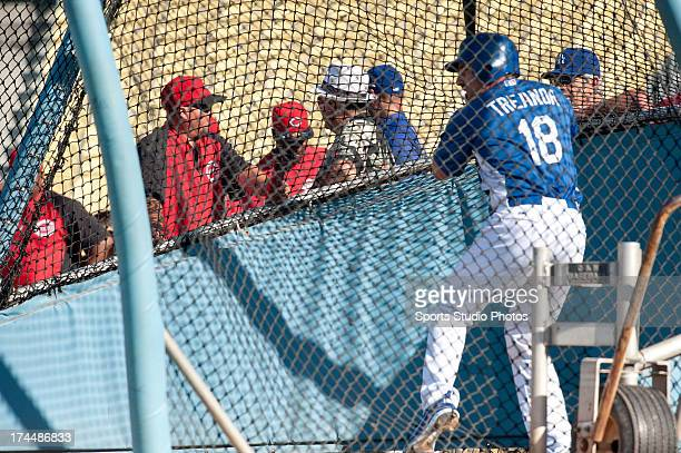 Matt Treanor of the Los Angeles Dodgers during batting practice before a game against the Cincinnati Reds on July 2 2012 at Dodger Stadium in Los...