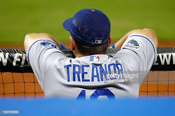 Matt Treanor of the Los Angeles Dodgers looks on during a game against the Miami Marlins at Marlins Park on August 10 2012 in Miami Florida
