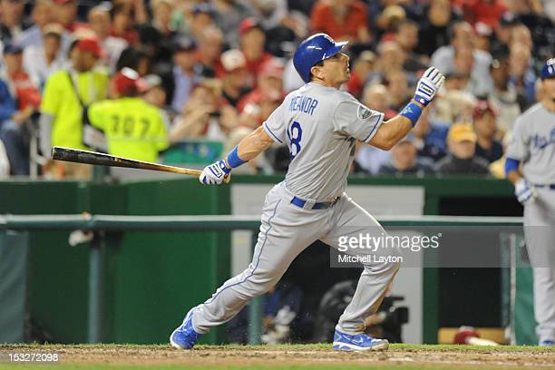 Matt Treanor of the Los Angeles Dodgers takes a swing during a baseball game against the Washington Nationals on September 19 2012 at Nationals Park...