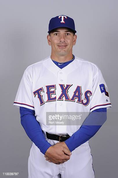 Matt Treanor of the Texas Rangers poses during Photo Day on Friday February 25 2011 at Surprise Stadium in Surprise Arizona