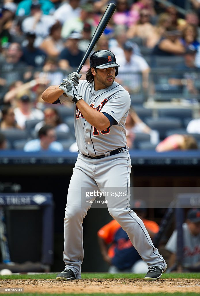 Matt Tuiasosopo #18 of the Detroit Tigers bats during the game against the New York Yankees at Yankee Stadium on Sunday, August 11, 2013 in the Bronx borough of Manhattan.