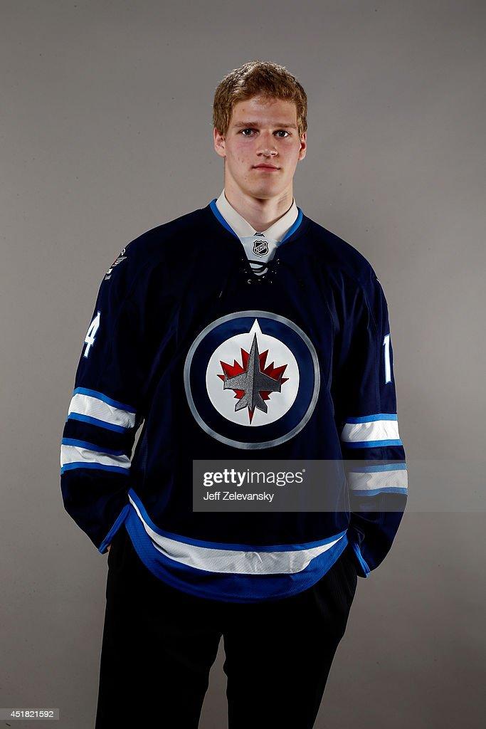 Matt Ustaski of the Winnipeg Jets poses for a portrait during the 2014 NHL Draft at the Wells Fargo Center on June 28, 2014 in Philadelphia, Pennsylvania.
