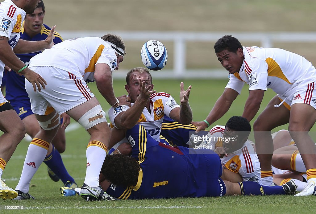 Matt Vant Leven of the Chiefs juggles the ball during the 2013 Super Rugby pre-season friendly match between the Chiefs and the Highlanders at Owen Delany Park, Taupo on February 2, 2013 in Taupo, New Zealand.