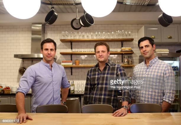 Matt Wadiak Matt Salzberg and Ilia Papas cofounders of the recipe delivery service Blue Apron pose for a portrait in their offices in Manhattan NY on...