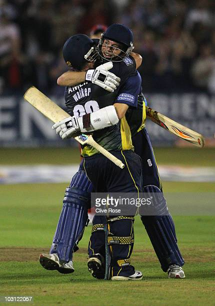 Matt Walker and James Foster of Essex celebrate the winning runs during the Friends Provident T20 match between Essex and Lancashire on July 27 2010...