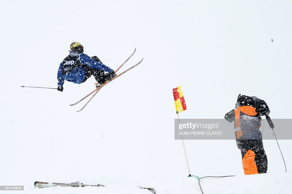 US' Matt Walker competes in the men's Ski Slopestyle qualification round of the European Winter X-Games on March 20, 2013 in French Alps ski resort of Tignes. AFP PHOTO / Jean Pierre Clatot