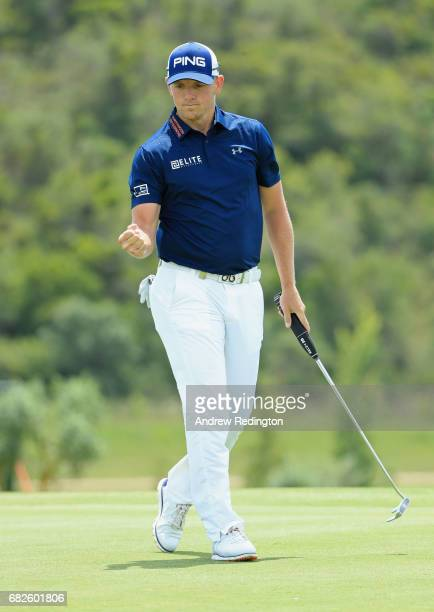 Matt Wallace of England celebrates after saving his par on the 1st hole during day three of the Open de Portugal at Morgado Golf Resort on May 13...