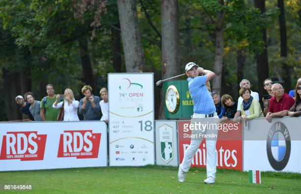 Matt Wallace of England plays a shot on the 18th hole during the final round of The Italian Open at Golf Club Milano Parco Reale di Monza on October...