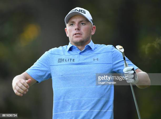 Matt Wallace of England reacts during the final round of The Italian Open at Golf Club Milano Parco Reale di Monza on October 15 2017 in Monza Italy