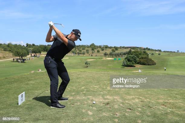 Matt Wallace of England tees off on the 11th hole during the final round on day four of the Open de Portugal at Morgado Golf Resort on May 14 2017 in...
