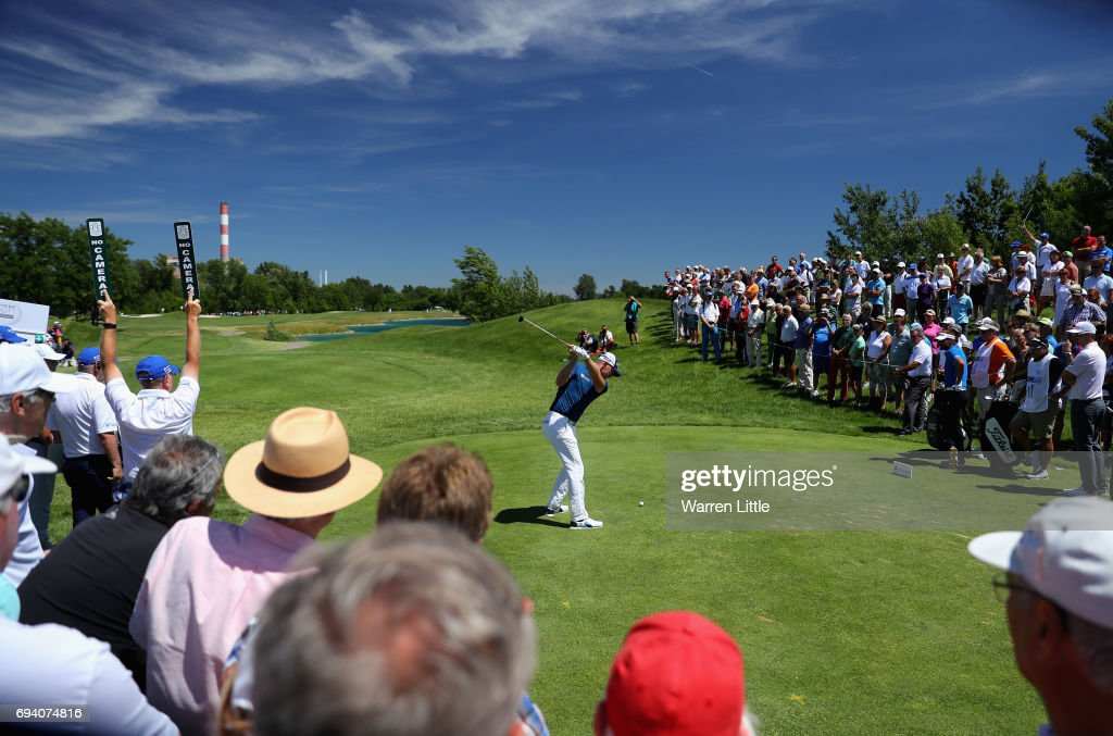 Matt Wallace of England tees off on the first hole during the second round of the Lyoness Open at Diamond Country Club on June 9, 2017 in Atzenbrugg, Austria.