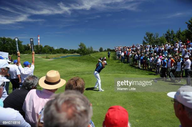 Matt Wallace of England tees off on the first hole during the second round of the Lyoness Open at Diamond Country Club on June 9 2017 in Atzenbrugg...