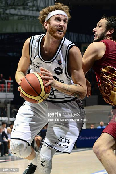 Matt Walsh of Granarolo competes with Guido Rosselli of Umana during the LegaBasket Serie A match between Granarolo Bologna and Umana Venezia at...