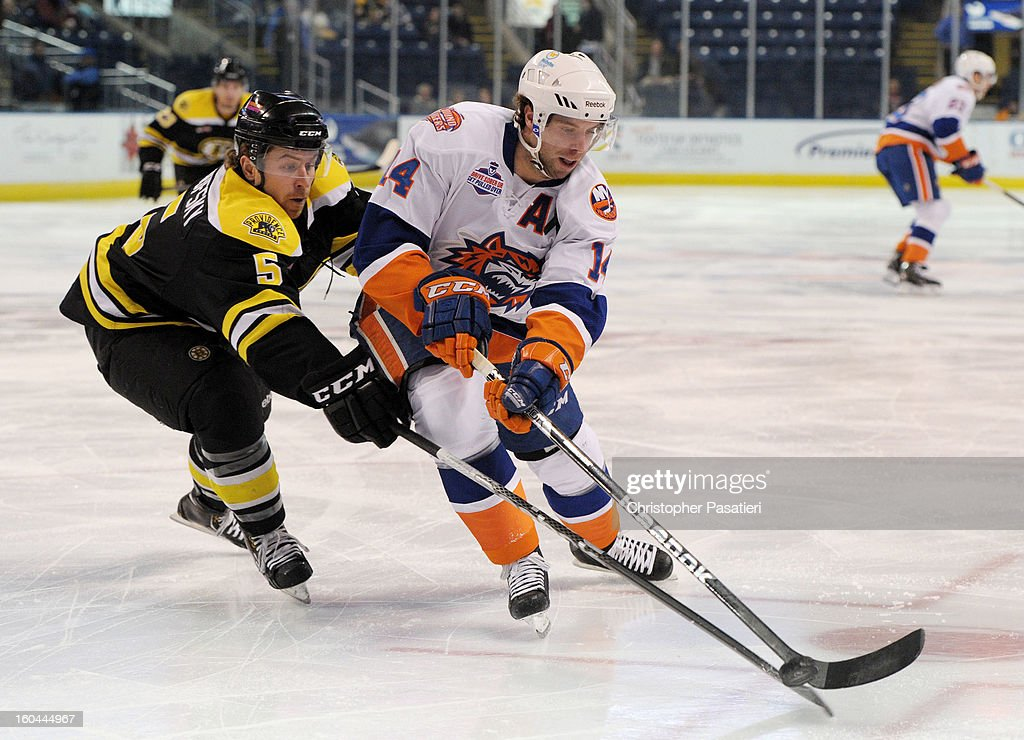 Matt Watkins #14 of the Bridgeport Sound Tigers and David Warsofsky #5 of the Providence Bruins battle for the puck during an American Hockey League game on January 31, 2013 at the Webster Bank Arena at Harbor Yard in Bridgeport, Connecticut.