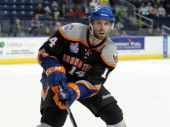 Matt Watkins of the Bridgeport Sound Tigers skates during an American Hockey League game against the Norfolk Admirals on December 2 2012 at the...