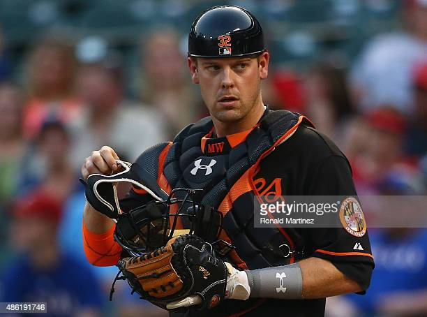 Matt Wieters of the Baltimore Orioles at Globe Life Park in Arlington on August 28 2015 in Arlington Texas