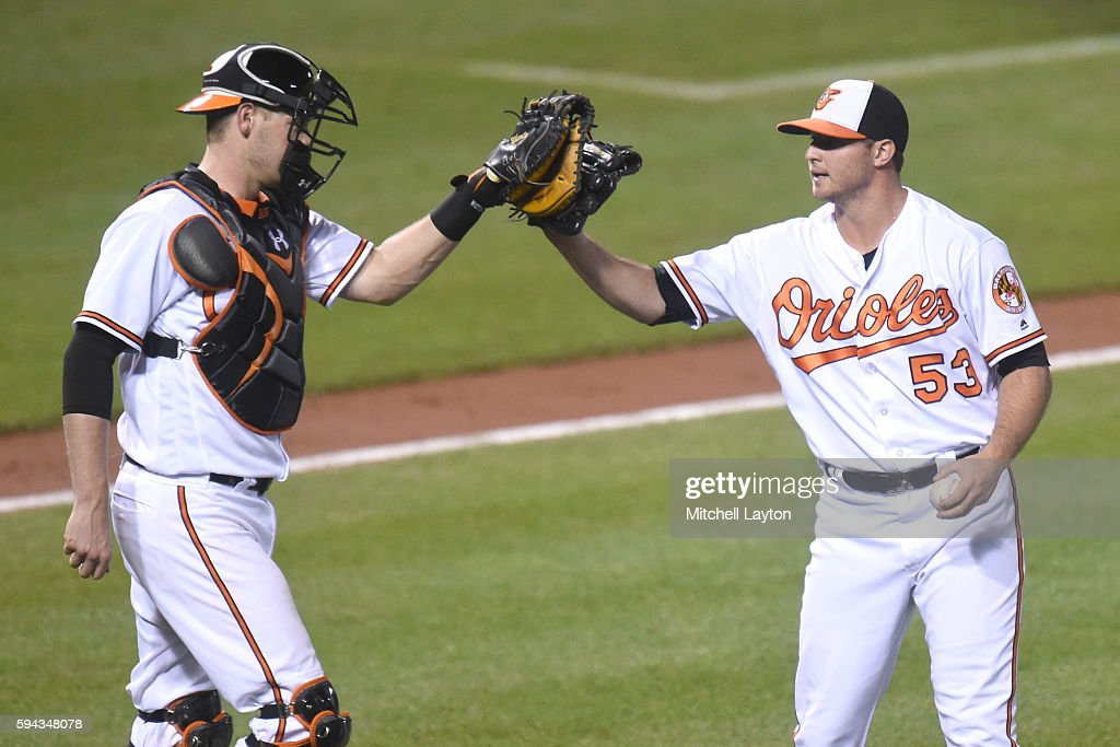 Matt Wieters #32 of the Baltimore Orioles celebrates a win with Zach Britton #53 after a baseball game against the the Washington Nationals at Oriole Park at Camden Yards on August 22, 2016 in Baltimore, Maryland. The Oriole won 4-3.
