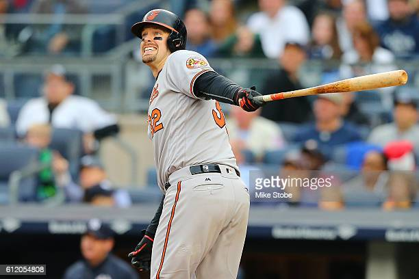 Matt Wieters of the Baltimore Orioles connects on his second two run home run of the game in the sixth inning against the New York Yankees at Yankee...