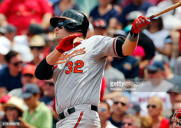 Matt Wieters of the Baltimore Orioles follows through on his tworun home run against the Boston Red Sox during the fourth inning in a game at Fenway...