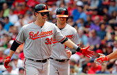 Matt Wieters of the Baltimore Orioles gets a high five from a teammate after his tworun home run against the Boston Red Sox during the fourth inning...