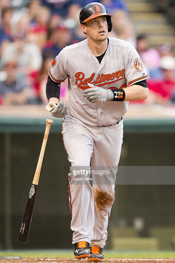 <a gi-track='captionPersonalityLinkClicked' href=/galleries/search?phrase=Matt+Wieters&family=editorial&specificpeople=4498276 ng-click='$event.stopPropagation()'>Matt Wieters</a> #32 of the Baltimore Orioles hits a two run home run during the ninth inning against the Cleveland Indians at Progressive Field on September 2, 2013 in Cleveland, Ohio.