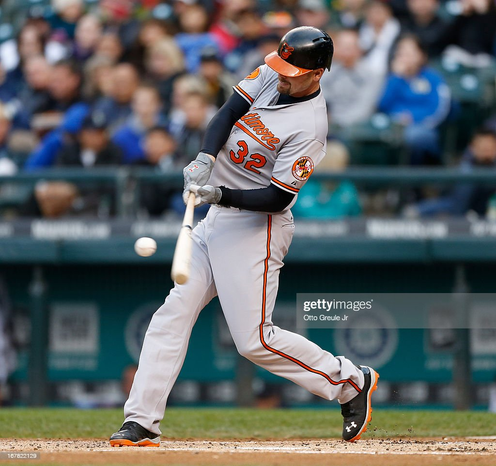 <a gi-track='captionPersonalityLinkClicked' href=/galleries/search?phrase=Matt+Wieters&family=editorial&specificpeople=4498276 ng-click='$event.stopPropagation()'>Matt Wieters</a> #32 of the Baltimore Orioles hits a two-run double in the first inning against the Seattle Mariners at Safeco Field on April 30, 2013 in Seattle, Washington.