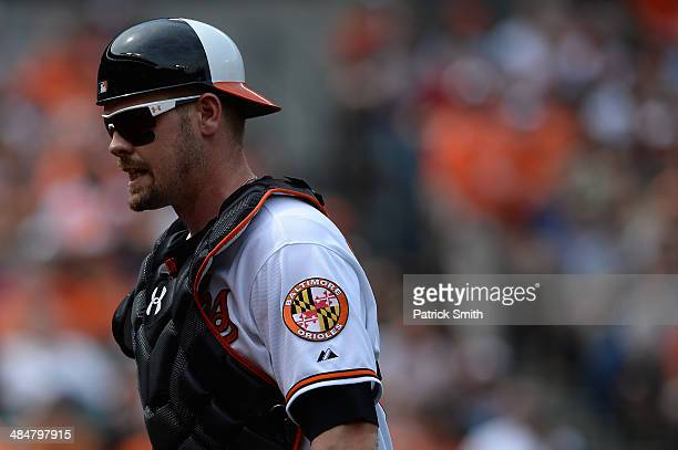 Matt Wieters of the Baltimore Orioles in action against the Toronto Blue Jays at Oriole Park at Camden Yards on April 13 2014 in Baltimore Maryland...