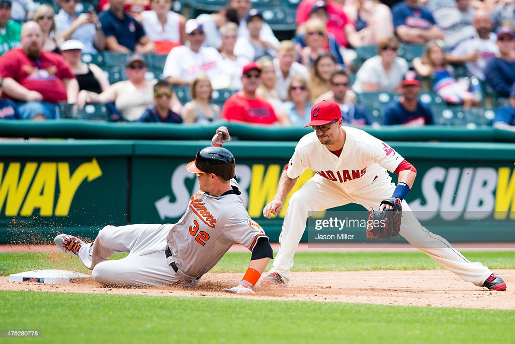 Matt Wieters of the Baltimore Orioles is safe at third on a hit to right at third baseman Lonnie Chisenhall of the Cleveland Indians tries to make...