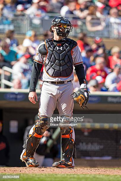 Matt Wieters of the Baltimore Orioles looks on against the Minnesota Twins on May 4 2014 at Target Field in Minneapolis Minnesota The Twins defeated...