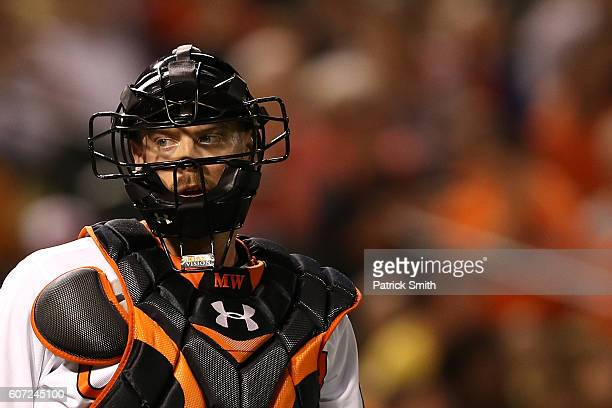 Matt Wieters of the Baltimore Orioles looks on against the Tampa Bay Rays at Oriole Park at Camden Yards on September 15 2016 in Baltimore Maryland