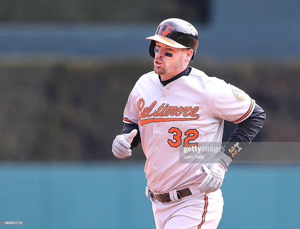 Matt Wieters #32 of the Baltimore Orioles rounds second base after hitting a ninth inning solo home run to left field during the game against the Detroit Tigers at Comerica Park on April 6, 2014 in Detroit, Michigan. The Orioles defeated the Tigers 3-1.