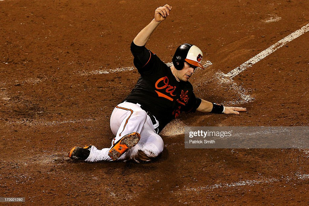 <a gi-track='captionPersonalityLinkClicked' href=/galleries/search?phrase=Matt+Wieters&family=editorial&specificpeople=4498276 ng-click='$event.stopPropagation()'>Matt Wieters</a> #32 of the Baltimore Orioles scores off of a Brian Roberts (not pictured) sacrifice fly in the seventh inning against the New York Yankees at Oriole Park at Camden Yards on June 30, 2013 in Baltimore, Maryland. The Baltimore Orioles won, 4-2.