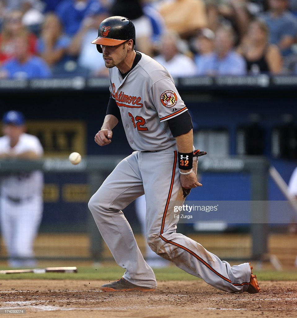 <a gi-track='captionPersonalityLinkClicked' href=/galleries/search?phrase=Matt+Wieters&family=editorial&specificpeople=4498276 ng-click='$event.stopPropagation()'>Matt Wieters</a> #32 of the Baltimore Orioles scores on a Henry Urrutia single in the third inning during a game against the Kansas City Royals at Kauffman Stadium on July 22, 2013 in Kansas City, Missouri.