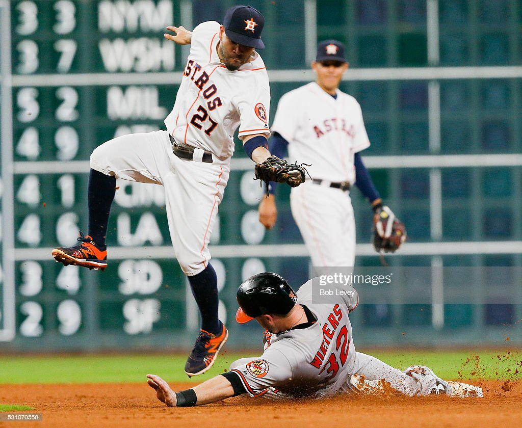 <a gi-track='captionPersonalityLinkClicked' href=/galleries/search?phrase=Matt+Wieters&family=editorial&specificpeople=4498276 ng-click='$event.stopPropagation()'>Matt Wieters</a> #32 of the Baltimore Orioles slides under the tag of Jose Altuve #27 of the Houston Astros in the ninth inning at Minute Maid Park on May 24, 2016 in Houston, Texas.