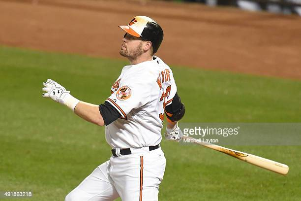 Matt Wieters of the Baltimore Orioles takes a swing during a baseball game against the Toronto Blue Jays at Oriole Park at Camden Yards on September...