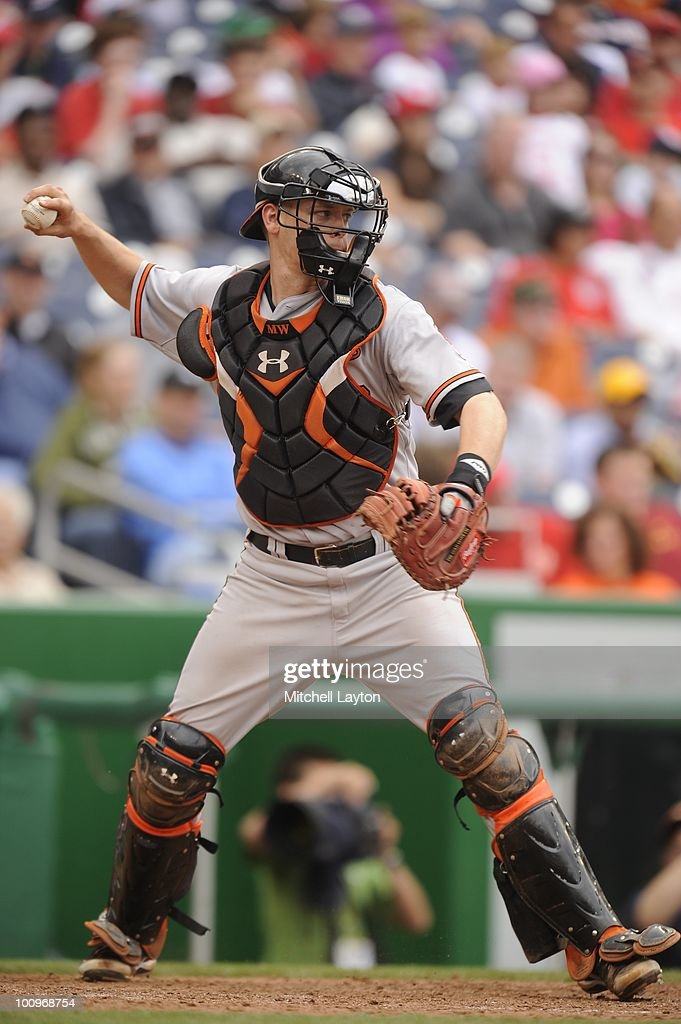 <a gi-track='captionPersonalityLinkClicked' href=/galleries/search?phrase=Matt+Wieters&family=editorial&specificpeople=4498276 ng-click='$event.stopPropagation()'>Matt Wieters</a> #32 of the Baltimore Orioles throws to second base during a baseball game against the Washington Nationals on May 23, 2010 at Nationals Park in Washington, D.C.