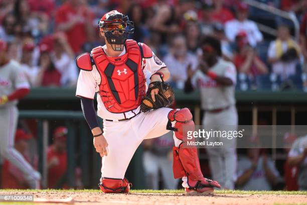 Matt Wieters of the Washington Nationals looks on during the game against the Philadelphia Phillies at Nationals Park on April 16 2017 in Washington...