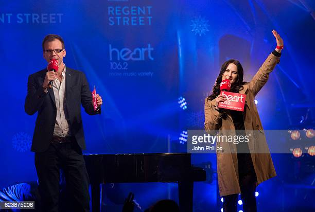 Matt Wilkinson and Kat Shoob during the Regent Street Christmas lights switch on On on November 17 2016 in London United Kingdom