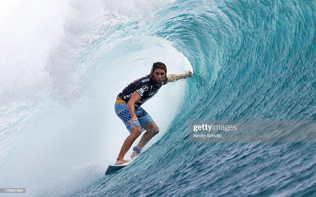 Matt Wilkinson of Australia surfs inside a barrel on June 6, 2013 in Tavarua, Fiji.
