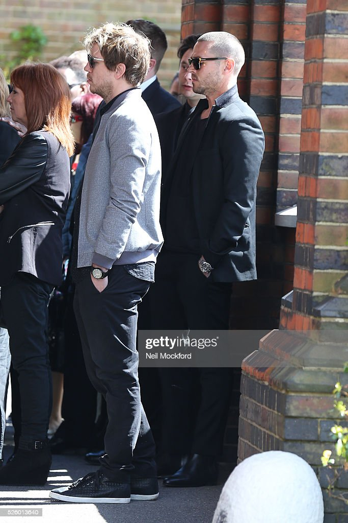 Matt Willis arriving at the funeral of David Guest at Golders Green Crematorium on April 29, 2016 in London, England.