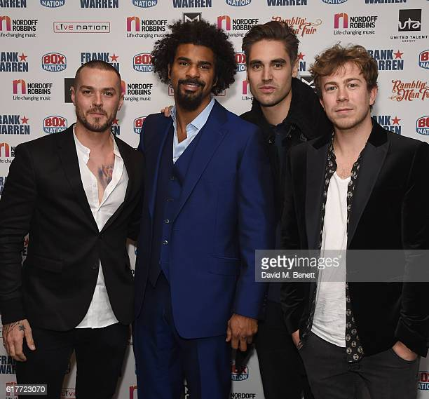 Matt Willis David Haye Charlie Simpson and James Bourne attend the Nordoff Robbins Boxing Dinner at the London Hilton Park Lane on October 24 2016 in...